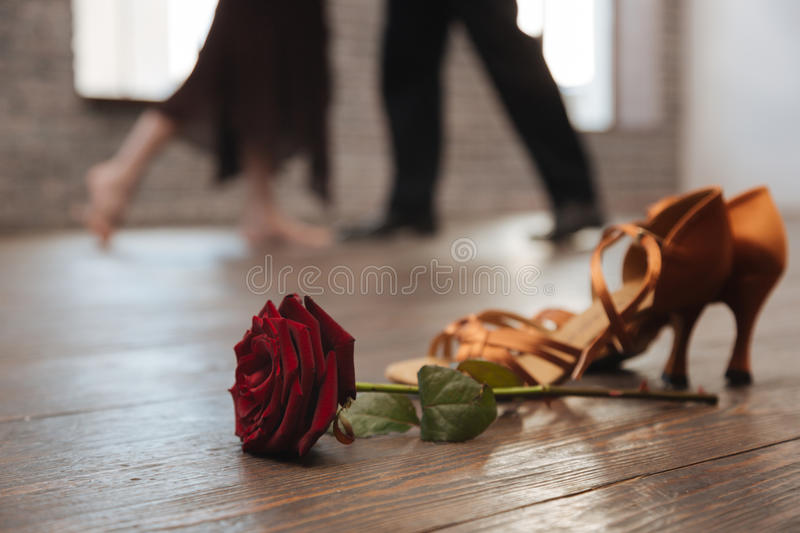 Professional dancers tangoing in the dance studio stock images