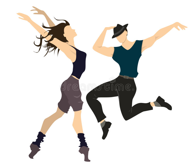 Professional dancers. Professional dancers on white background. Male and female dancers posing and making motions vector illustration