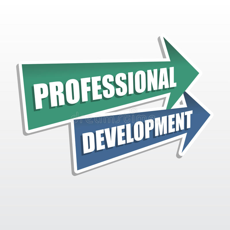 Professional development in arrows, flat design stock image