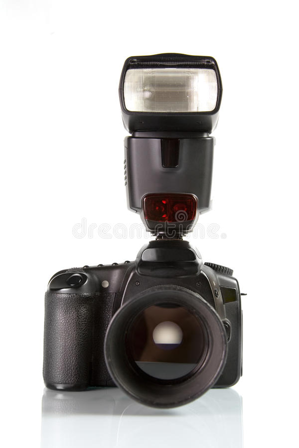 Professional digital photo camera front view royalty free stock images