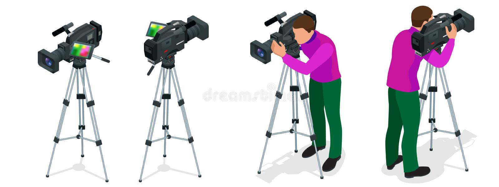 Professional digital video camera and Cameraman. Flat 3d isometric illustration for infographics and design. Camcorders. And Equipment vector illustration