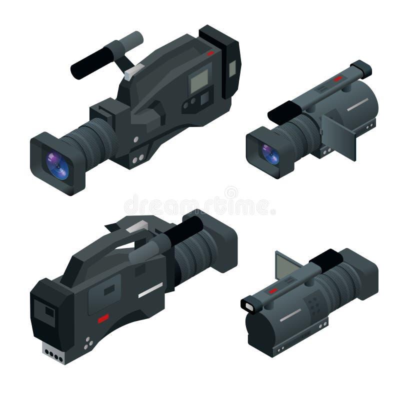 Professional digital video camera set. Film lens, television camera. Flat 3d isometric illustration. Professional digital video camera set. Film lens. Flat 3d royalty free illustration