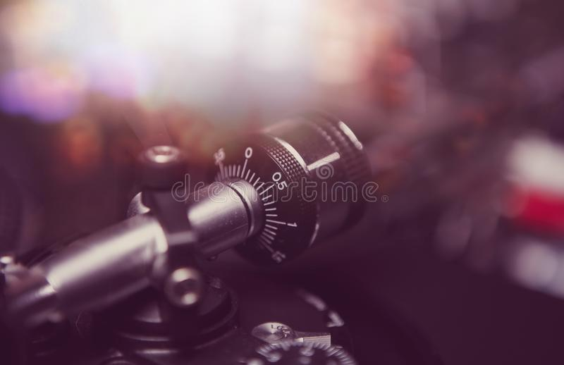 Professional dj turntable player in close up royalty free stock photo