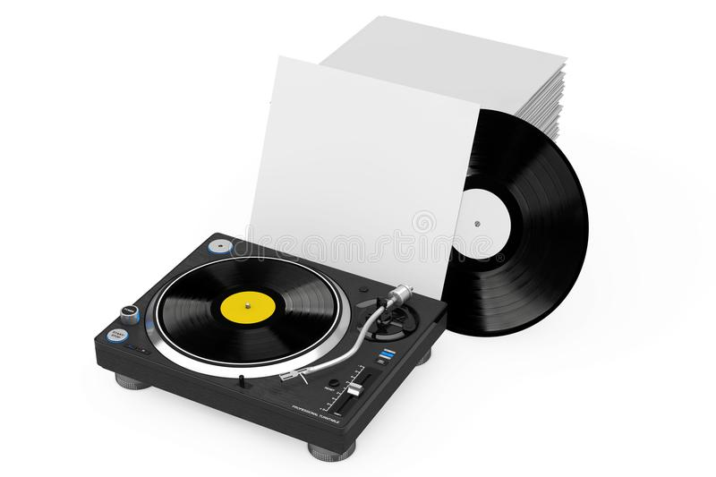 Professional DJ Turntable Vinyl Record Player near Stack of Vinyl Disks in Blank Paper Cases. 3d Rendering. Professional DJ Turntable Vinyl Record Player near vector illustration