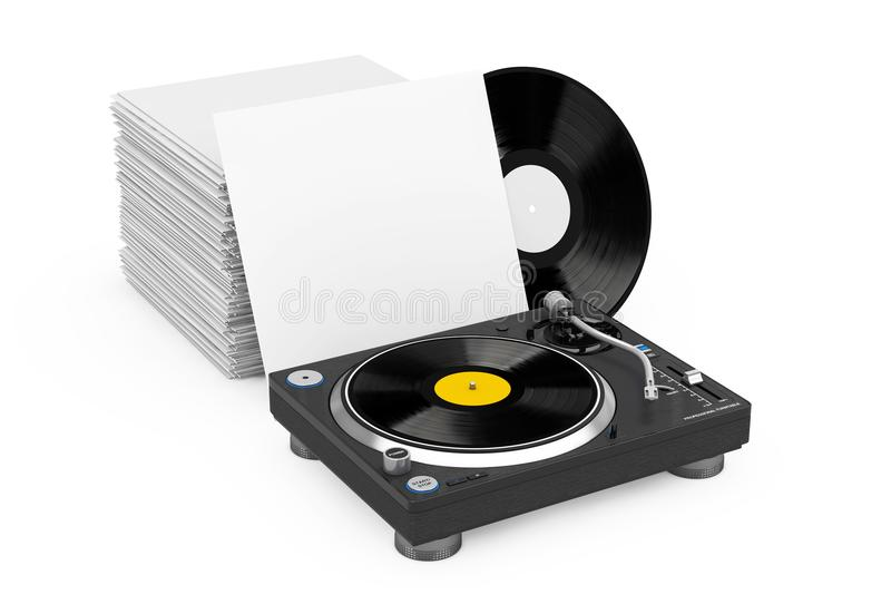 Professional DJ Turntable Vinyl Record Player near Stack of Vinyl Disks in Blank Paper Cases. 3d Rendering. Professional DJ Turntable Vinyl Record Player near stock illustration