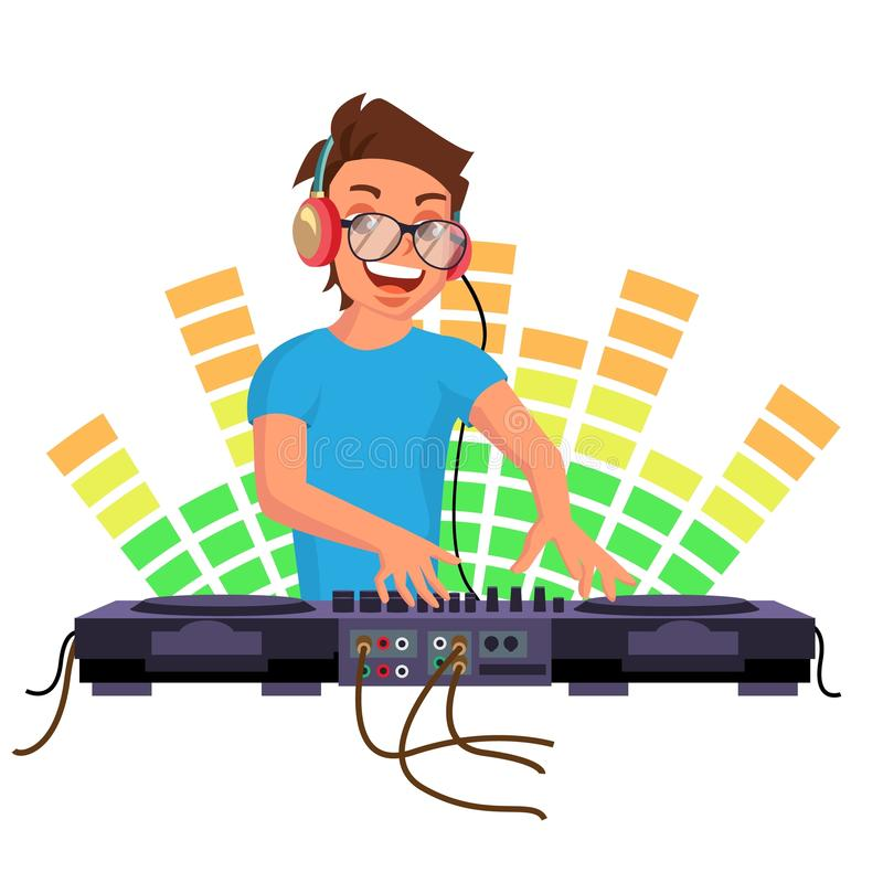 Professional Dj Vector. Playing Disco House Music. Mixing Music On Turntables. Party Dance Concept. On White stock illustration