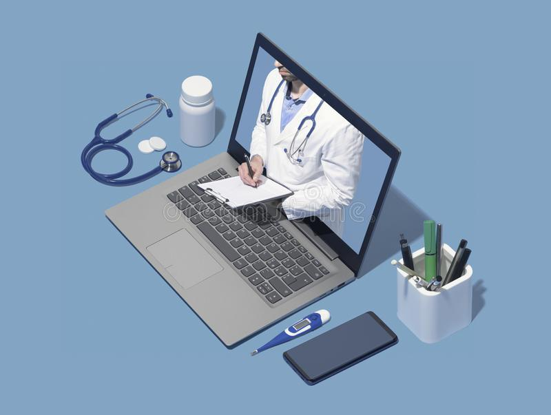 Professional doctor giving a consultation online in a laptop royalty free stock photography