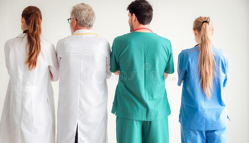 Professional doctor team are standing on background, He royalty free stock images