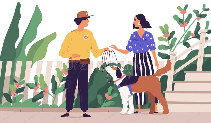 Professional dog walker getting domestic animal from owner. Cute woman giving leash to on-demand pet walking service royalty free illustration