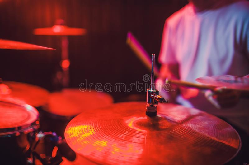 Professional drum set closeup. Drummer with drums, live music concert. stock photo