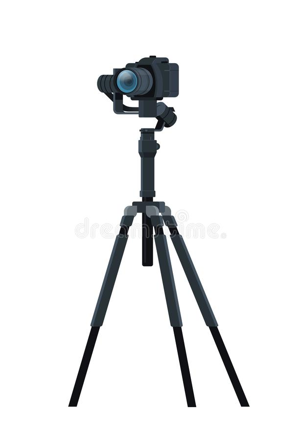 Professional DSLR camera on tripod stabilizer metal construction take a photo movie or video concept isolated vertical. Flat vector illustration vector illustration
