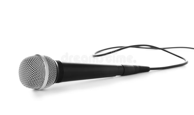 Professional dynamic microphone with wire stock images