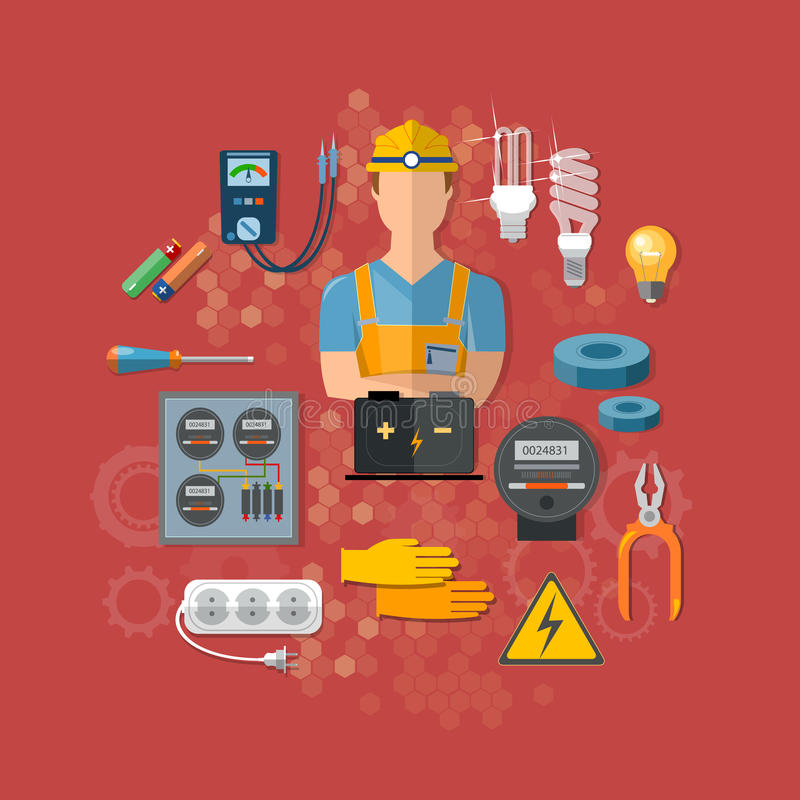 Professional electrical tools electrician royalty free illustration