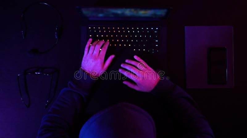 Professional eSport Gamer Playing a Game. Top view. Timelapse.Professional eSport Gamer Playing a Game. Professional shot in 4K resolution. 020. You can use it royalty free stock image