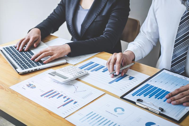 Professional Executive business team brainstorming on meeting to planning investment project working and strategy of business. Making conversation with partner royalty free stock images