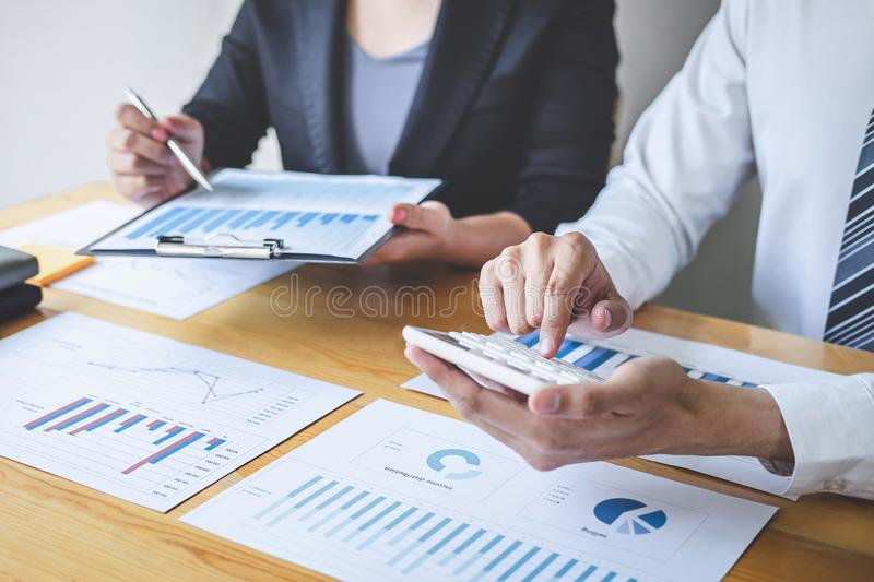 Professional Executive business team brainstorming on meeting to planning investment project working and strategy of business. Making conversation with partner stock image