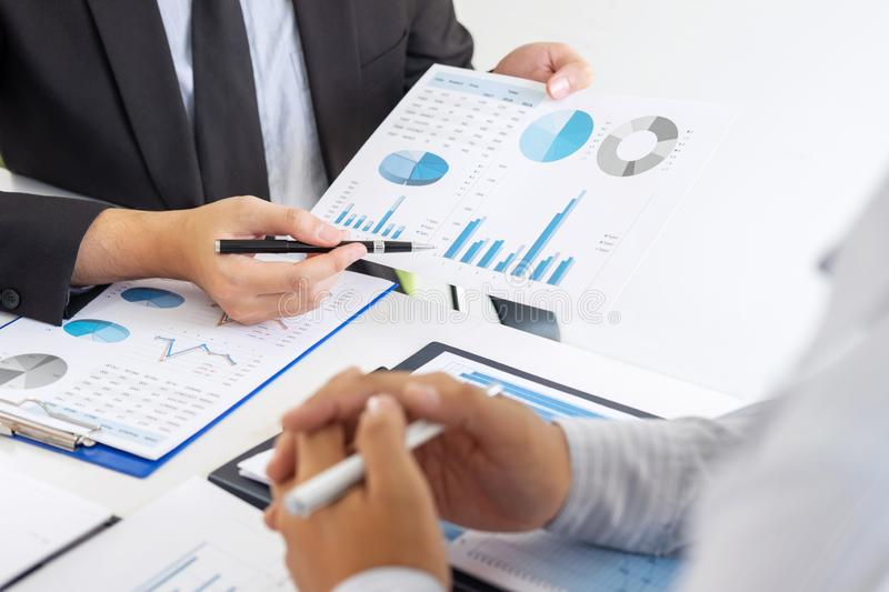Professional executive manager, Business partner discussing ideas marketing plan and presentation project of investment at meeting. And analyzing on document royalty free stock photography