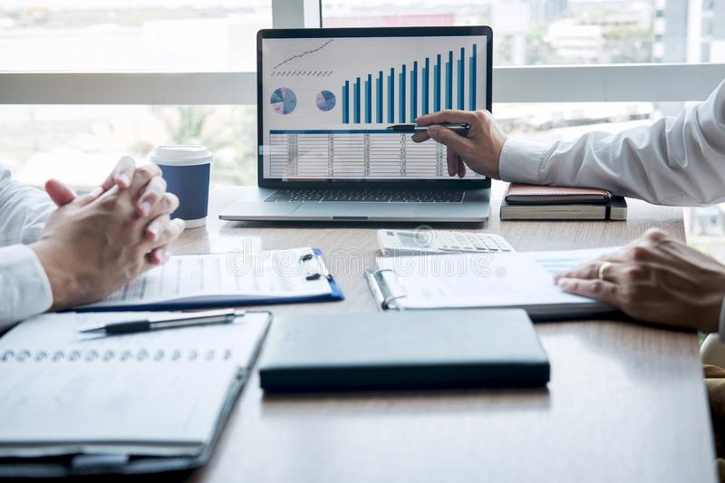 Professional executive manager, Business partner discussing ideas marketing plan and presentation project of investment at meeting royalty free stock photography