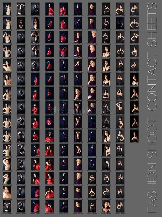 Professional fashion shoot contact sheet vector illustration