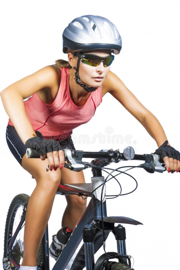 Download Professional Female Cycling Athlete Riding Mountain Bike Wearing Stock Photo - Image: 32450288