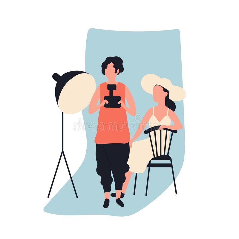 Professional female photographer holding photo camera and model at photographic studio full of photography equipment. Cute young woman and her creative hobby royalty free illustration