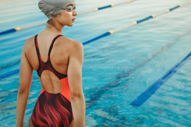 Professional female swimmer standing by the pool. Rear view of professional female swimmer standing by the pool and looking away. Woman in swimsuit, swim cap and royalty free stock images