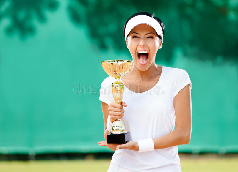 Download Professional Female Tennis Player Won The Cup Stock Photo - Image: 26849916