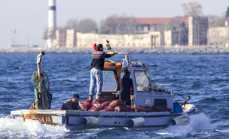 Professional Fishermen on Boat stock image