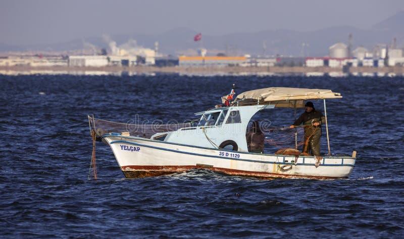 Professional Fishermen on Boat royalty free stock photos