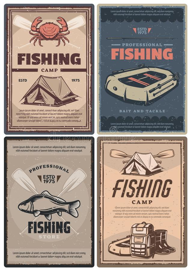Professional fishing store and camp retro posters stock illustration