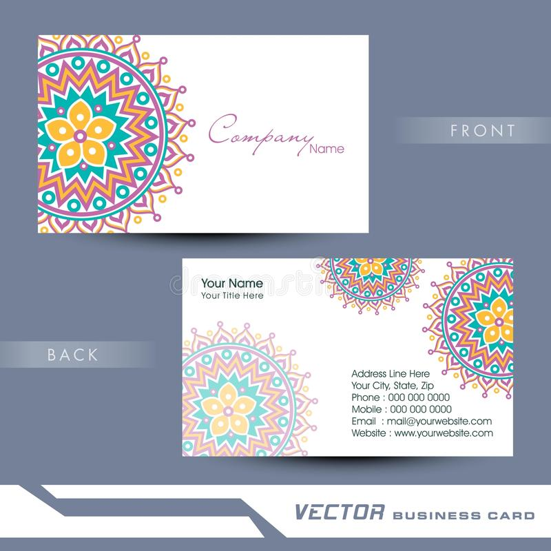 professional floral business card or visiting card design stock