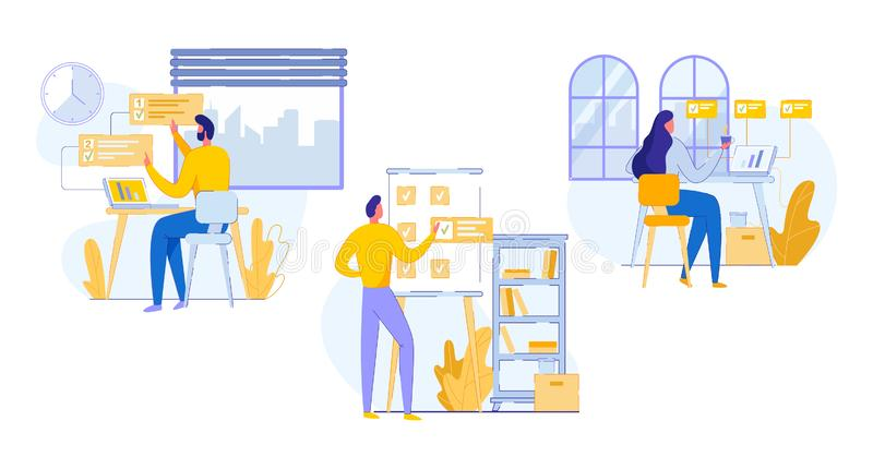 Professional Flyer Office Work Planning Cartoon. stock illustration
