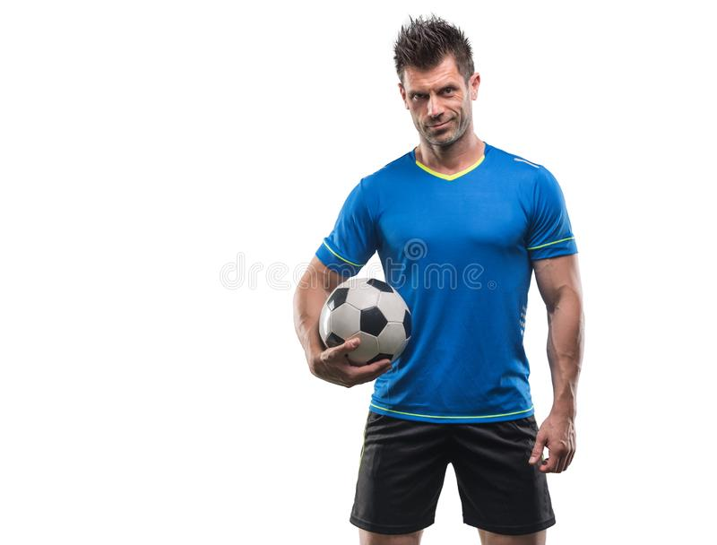Professional football soccer player in action isolated white background stock photos