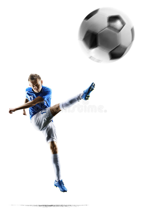 Professional football soccer player in action on white stock photography