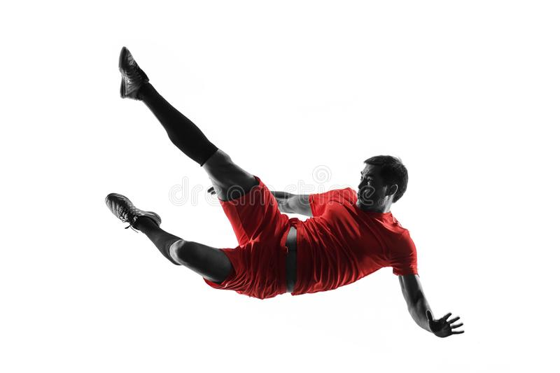 Professional football soccer player isolated on white background royalty free stock images