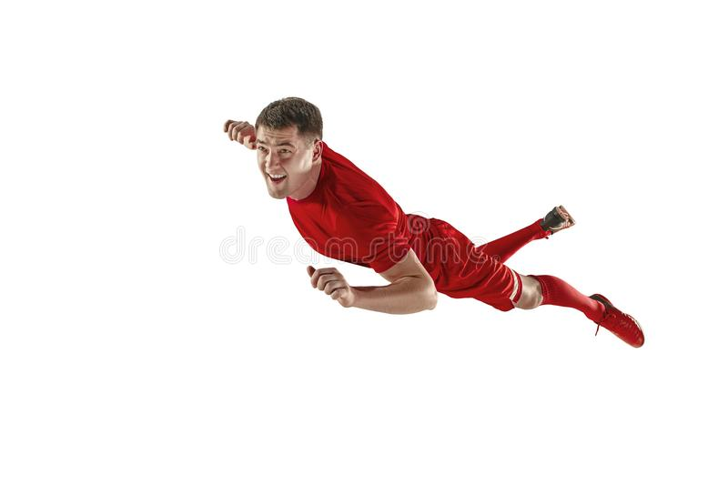 Professional football soccer player isolated white background royalty free stock images