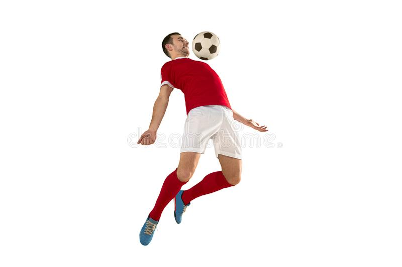 Professional football soccer player isolated white background stock photography