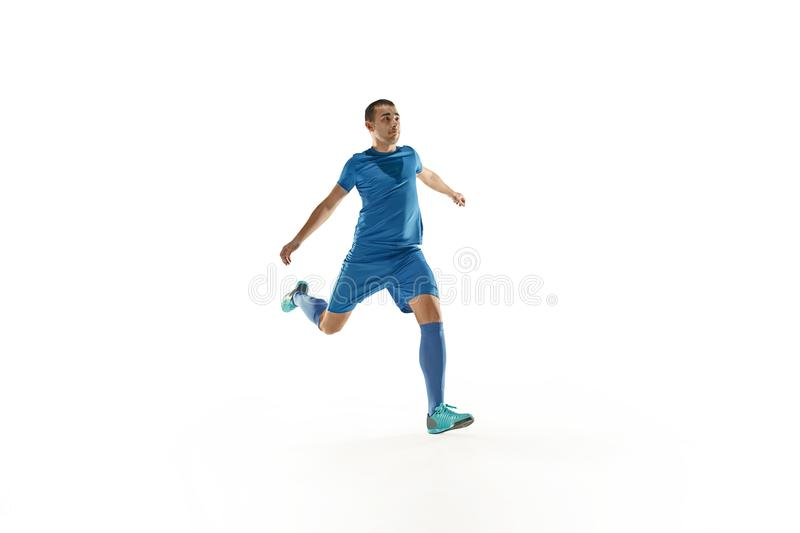 Professional football soccer player white background stock photo