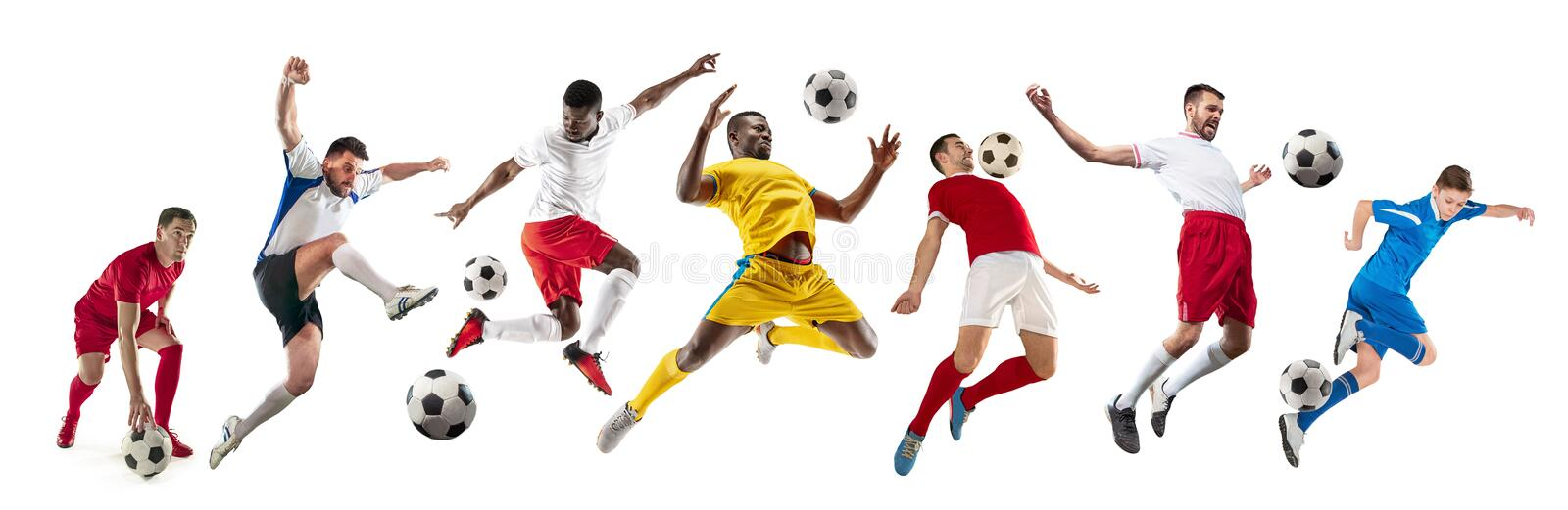 Professional men - football soccer players with ball isolated white studio background stock images