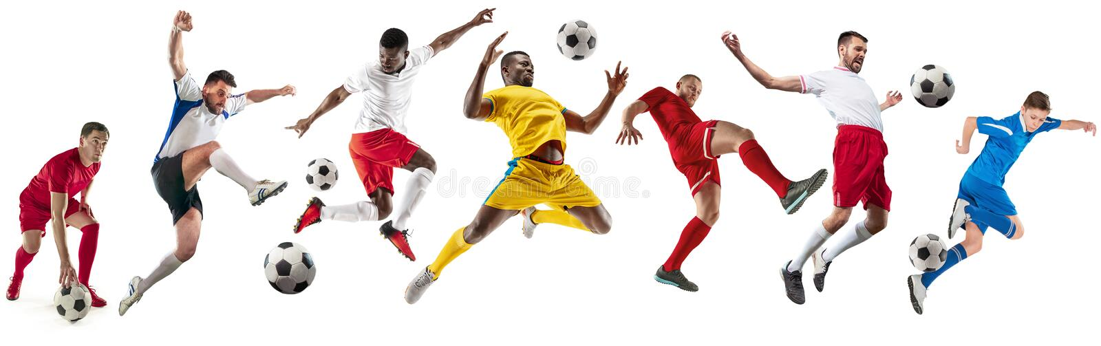 Professional men - football soccer players with ball isolated white studio background stock photography