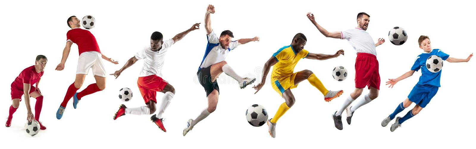 Professional men - football soccer players with ball isolated white studio background stock photo