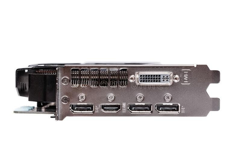 Professional gaming graphic card, connectors panel front view, isolated on white. royalty free stock photos