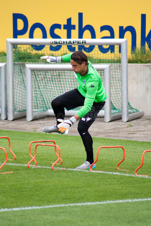Professional goalkeeper Yann Sommer during training session royalty free stock image