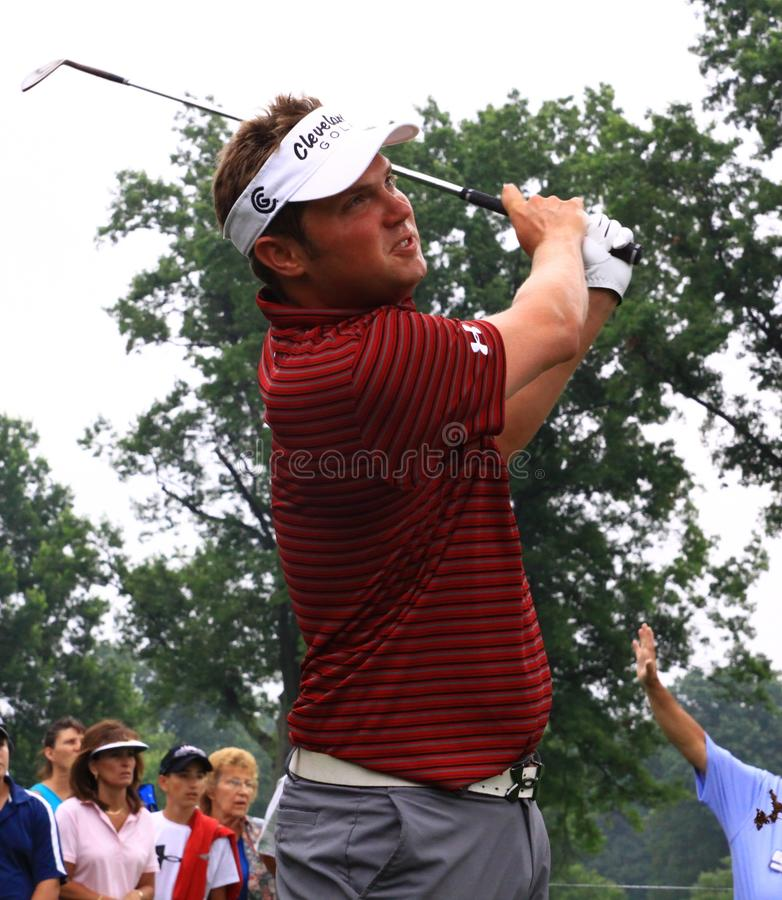 Professional golfer Jeff Overton. American professional golfer Jeff Overton (Jeffrey Laurence Overton) watches his chip shot at a PGA event royalty free stock image
