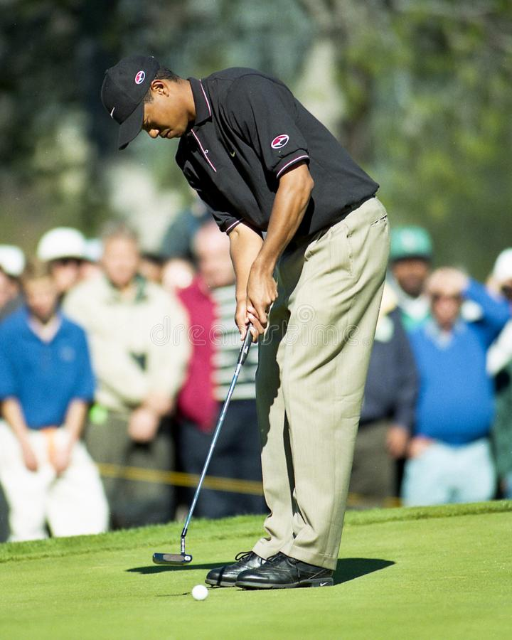 Tiger Woods. Professional Golfer legend Tiger Woods. Image taken from a color negative royalty free stock image