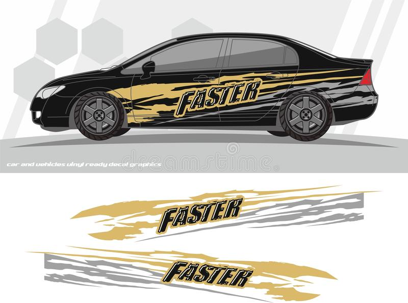 Faster Car and vehicles decal Graphics Kit designs. ready to print and cut for vinyl stickers. stock illustration