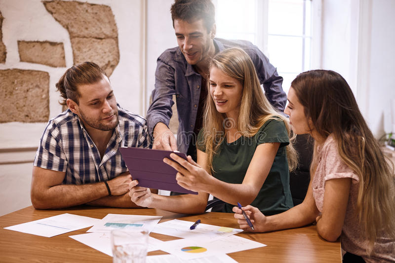 Professional group of millenials in conference royalty free stock photos