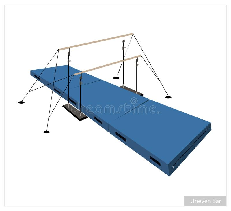 Professional Gymnastic Uneven Bars on White Background royalty free illustration