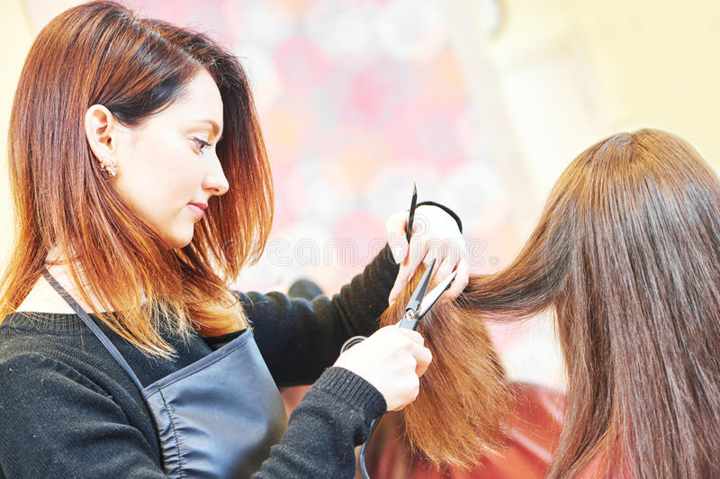 Professional hair stylist with scissors and comb stock photo