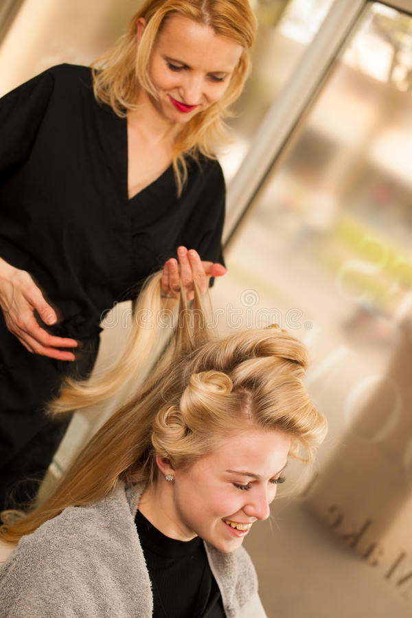 download professional hair stylist at work hairdresser doing hairstyle stock image image 71808373 - Professional Hair Stylist
